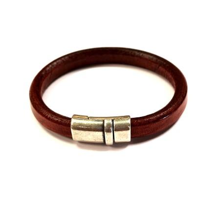 Bracelet jonc cuir homme Regalis marron