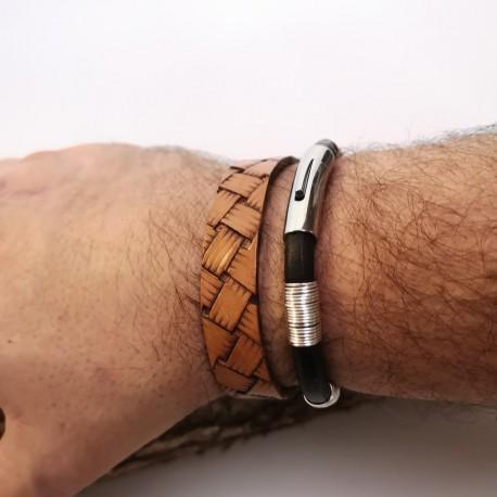 Bracelet cuir homme motif réalisé à la main