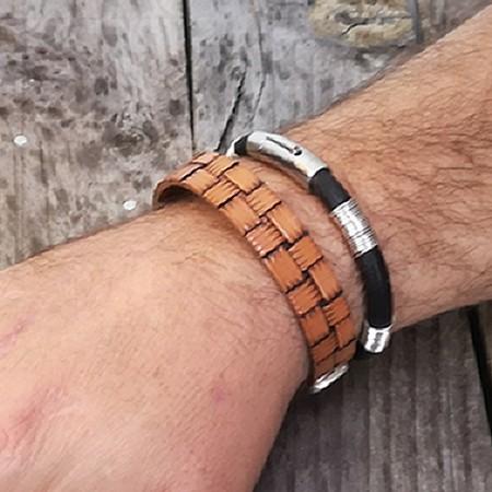 Bracelet cuir véritable homme motif poinçonné à l'ancienne