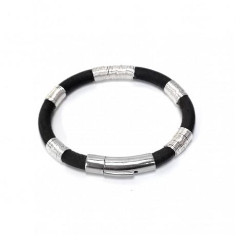 Bracelet Clip ibiza cuir véritable fil argent