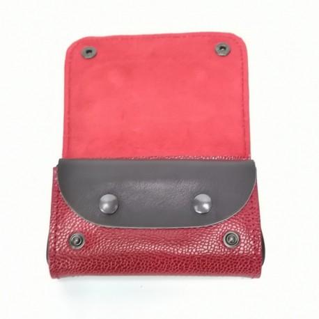 Portefeuille homme compact pratique cuir véritable rouge