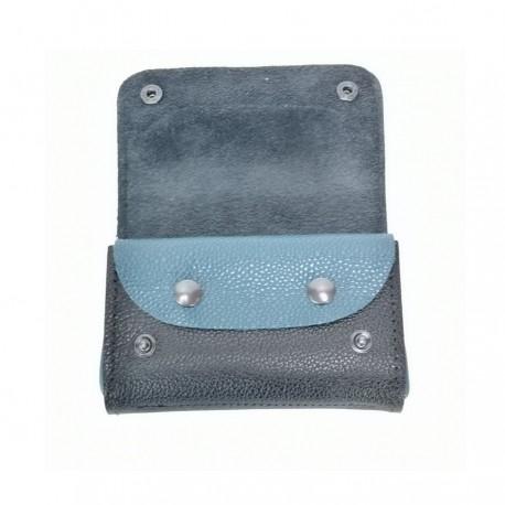Portefeuille cuir véritable noir bleu accessoire créateur francais
