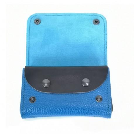 Portefeuille cuir vértiable bleu et noir compact Voyageur