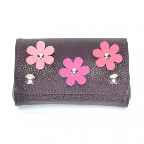 Porte-monnaie violet rose fleurs femme accessoire mode