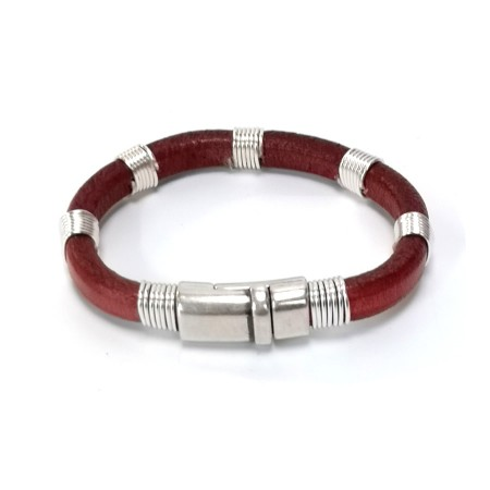 Bracelet cuir épais marron homme vintage made in France